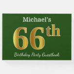 [ Thumbnail: Green, Faux Gold 66th Birthday Party + Custom Name Guest Book ]
