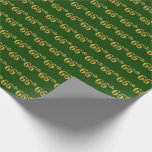 [ Thumbnail: Green, Faux Gold 66th (Sixty-Sixth) Event Wrapping Paper ]