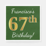[ Thumbnail: Green, Faux Gold 67th Birthday + Custom Name Paper Napkin ]