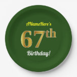 [ Thumbnail: Green, Faux Gold 67th Birthday + Custom Name Paper Plate ]