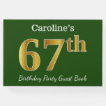 [ Thumbnail: Green, Faux Gold 67th Birthday Party + Custom Name Guest Book ]