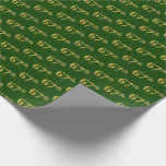 [ Thumbnail: Green, Faux Gold 67th (Sixty-Seventh) Event Wrapping Paper ]