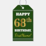 [ Thumbnail: Green, Faux Gold 68th Birthday + Custom Name Gift Tags ]