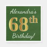 [ Thumbnail: Green, Faux Gold 68th Birthday + Custom Name Paper Napkin ]