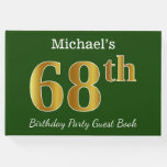 [ Thumbnail: Green, Faux Gold 68th Birthday Party + Custom Name Guest Book ]