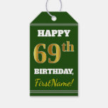 [ Thumbnail: Green, Faux Gold 69th Birthday + Custom Name Gift Tags ]