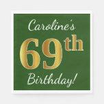 [ Thumbnail: Green, Faux Gold 69th Birthday + Custom Name Paper Napkin ]