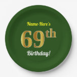 [ Thumbnail: Green, Faux Gold 69th Birthday + Custom Name Paper Plate ]