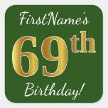 [ Thumbnail: Green, Faux Gold 69th Birthday + Custom Name Sticker ]