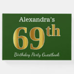 [ Thumbnail: Green, Faux Gold 69th Birthday Party + Custom Name Guest Book ]