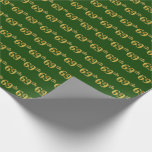 [ Thumbnail: Green, Faux Gold 69th (Sixty-Ninth) Event Wrapping Paper ]