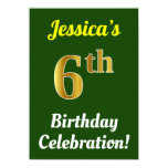 [ Thumbnail: Green, Faux Gold 6th Birthday Celebration + Name Invitation ]