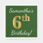[ Thumbnail: Green, Faux Gold 6th Birthday + Custom Name Paper Napkin ]