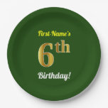 [ Thumbnail: Green, Faux Gold 6th Birthday + Custom Name Paper Plate ]
