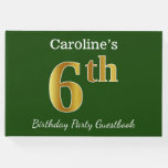 [ Thumbnail: Green, Faux Gold 6th Birthday Party + Custom Name Guest Book ]