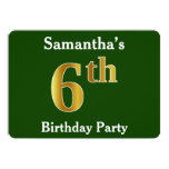 [ Thumbnail: Green, Faux Gold 6th Birthday Party + Custom Name Invitation ]