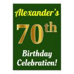 [ Thumbnail: Green, Faux Gold 70th Birthday Celebration + Name Invitation ]