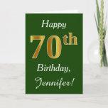 [ Thumbnail: Green, Faux Gold 70th Birthday + Custom Name Card ]