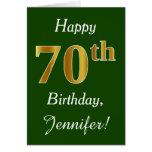Hand shaped Green, Faux Gold 70th Birthday   Custom Name Card