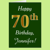 Green, Faux Gold 70th Birthday   Custom Name Card