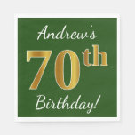 [ Thumbnail: Green, Faux Gold 70th Birthday + Custom Name Paper Napkin ]