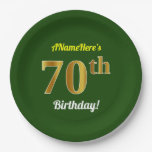 [ Thumbnail: Green, Faux Gold 70th Birthday + Custom Name Paper Plate ]
