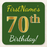 [ Thumbnail: Green, Faux Gold 70th Birthday + Custom Name Paper Coaster ]