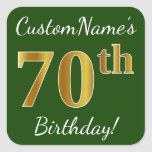 [ Thumbnail: Green, Faux Gold 70th Birthday + Custom Name Sticker ]