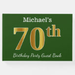 [ Thumbnail: Green, Faux Gold 70th Birthday Party + Custom Name Guest Book ]