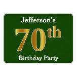 [ Thumbnail: Green, Faux Gold 70th Birthday Party + Custom Name Invitation ]