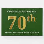 [ Thumbnail: Green, Faux Gold 70th Wedding Anniversary Party Guest Book ]