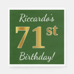 [ Thumbnail: Green, Faux Gold 71st Birthday + Custom Name Napkin ]