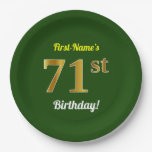 [ Thumbnail: Green, Faux Gold 71st Birthday + Custom Name Paper Plate ]