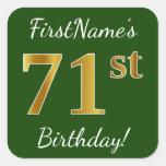 [ Thumbnail: Green, Faux Gold 71st Birthday + Custom Name Sticker ]