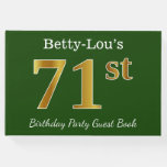 [ Thumbnail: Green, Faux Gold 71st Birthday Party + Custom Name Guest Book ]