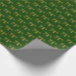[ Thumbnail: Green, Faux Gold 71st (Seventy-First) Event Wrapping Paper ]
