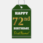 [ Thumbnail: Green, Faux Gold 72nd Birthday + Custom Name Gift Tags ]