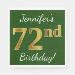 [ Thumbnail: Green, Faux Gold 72nd Birthday + Custom Name Paper Napkin ]
