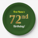 [ Thumbnail: Green, Faux Gold 72nd Birthday + Custom Name Paper Plate ]