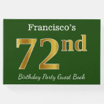 [ Thumbnail: Green, Faux Gold 72nd Birthday Party + Custom Name Guest Book ]