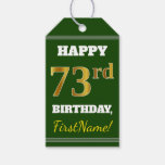 [ Thumbnail: Green, Faux Gold 73rd Birthday + Custom Name Gift Tags ]