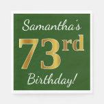 [ Thumbnail: Green, Faux Gold 73rd Birthday + Custom Name Paper Napkin ]