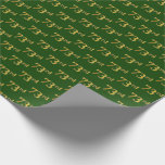 [ Thumbnail: Green, Faux Gold 73rd (Seventy-Third) Event Wrapping Paper ]