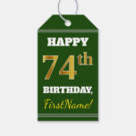 [ Thumbnail: Green, Faux Gold 74th Birthday + Custom Name Gift Tags ]