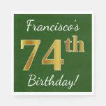 [ Thumbnail: Green, Faux Gold 74th Birthday + Custom Name Napkin ]