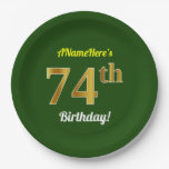 [ Thumbnail: Green, Faux Gold 74th Birthday + Custom Name Paper Plate ]