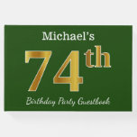 [ Thumbnail: Green, Faux Gold 74th Birthday Party + Custom Name Guest Book ]