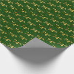[ Thumbnail: Green, Faux Gold 74th (Seventy-Fourth) Event Wrapping Paper ]