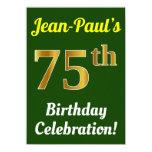 [ Thumbnail: Green, Faux Gold 75th Birthday Celebration + Name Invitation ]