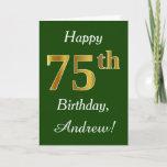[ Thumbnail: Green, Faux Gold 75th Birthday + Custom Name Card ]